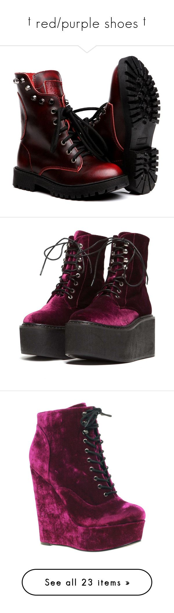 """""""† red/purple shoes †"""" by ulzz-nara ❤ liked on Polyvore featuring shoes, boots, zapatos, short boots, wide width knee high boots, combat boots, wide width ankle boots, combat booties, ankle booties and footwear"""