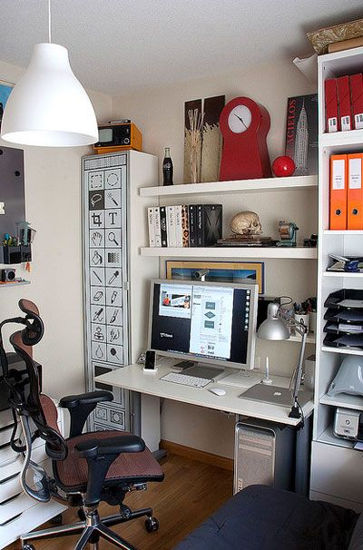 Graphically designed office: I'm liking the cupboard on the left