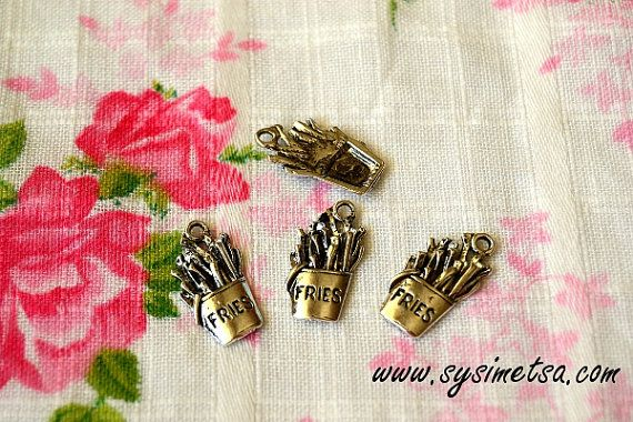 Miniature French fries Charms  Antique by TaikalandiaSupplies