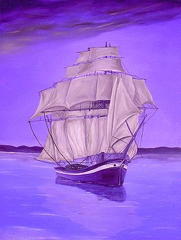 Sailboat, painting, nautical,marine,ocean,scene,purple,lavender,decor,decorative,beautiful,images,contemporary,modern,wall,art,awesome,cool,artwork,for,sale,home,office,decor,oil,sea,water,calm,voyage,seascape,items,ideas, fine art america