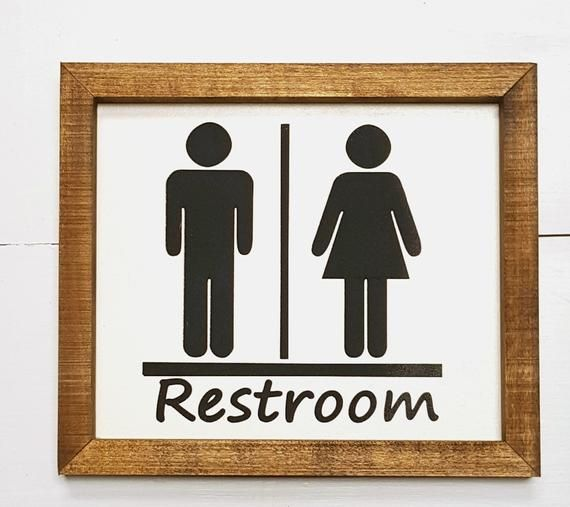 Rustic Restroom Sign Male And Female Symbols Bathroom Sign His And Her Bathroom Decor Farmhouse Restroom Decor With Images Bathroom Signs Painted Signs Wood Frame Sign