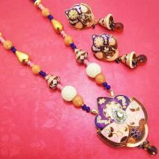 Meenakari Drop Leaf Pendant Necklace Violet Pink