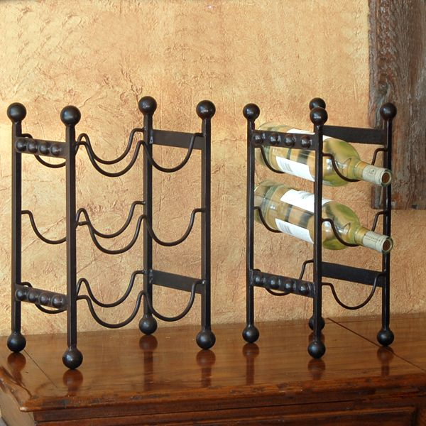 Add class and function to your Southwestern bar with these rustic hand-forged iron wine racks, $44.00