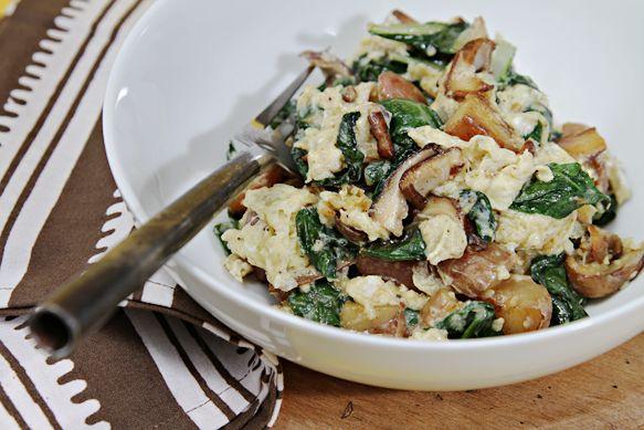 Scramble with fontina, shitakes, chard, and fingerling potatoes