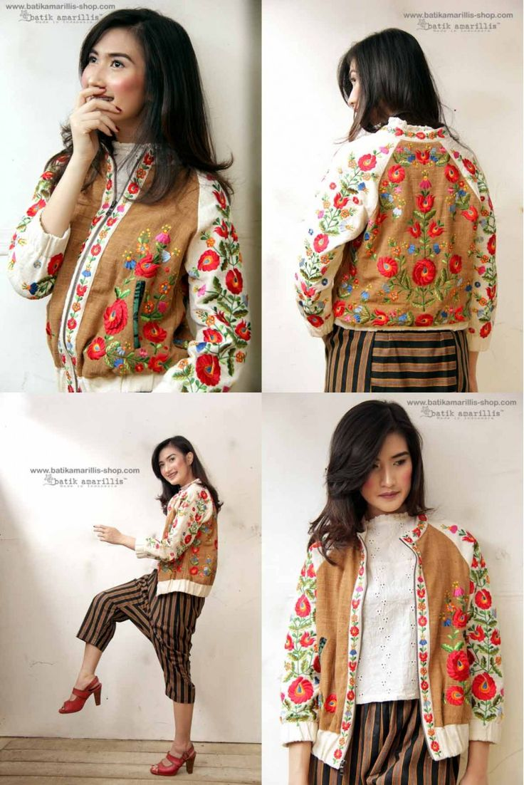 Batik Amarillis's Girl meet Boy Jacket This Unisex,timeless style that travelled through eras & aesthetics. With Raglan sleeve it's crafted in duo-tone and with our raw & beautiful Tenun batik Gedog Tuban &  iconic mexican  embroidery  not just embroidery it's 'Stumpworkembroidery' stumpworkbuilds on basic hand embroidery stitches to create gorgeous, 3-D projects with strikingly realistic results.