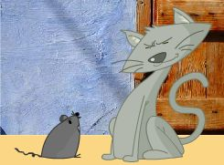 Fábulas para niños: Pón el cascabel al gato. Un hábil gato hacía tal matanza de ratones, que apenas veía uno,