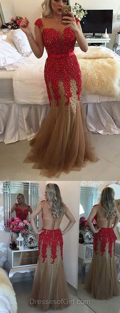 Pearl Prom Dresses, Red Prom Dress, Mermaid Evening Gowns, Tulle Party Dresses, Scoop Neck Formal Dresses