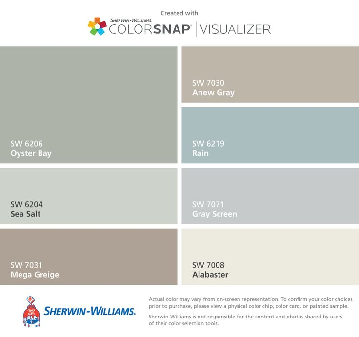 I found these colors with ColorSnap® Visualizer for iPhone by Sherwin-Williams: Oyster Bay (SW 6206), Sea Salt (SW 6204), Mega Greige (SW 7031), Anew Gray (SW 7030), Rain (SW 6219), Gray Screen (SW 7071), Alabaster (SW 7008).