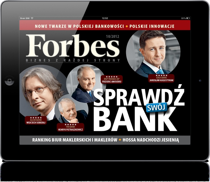 Miesięcznik FORBES, skierowany do biznesmenów i menedżerów wyższego szczebla. Klient: Ringer Axel Springer Polska, Wersja: iOS