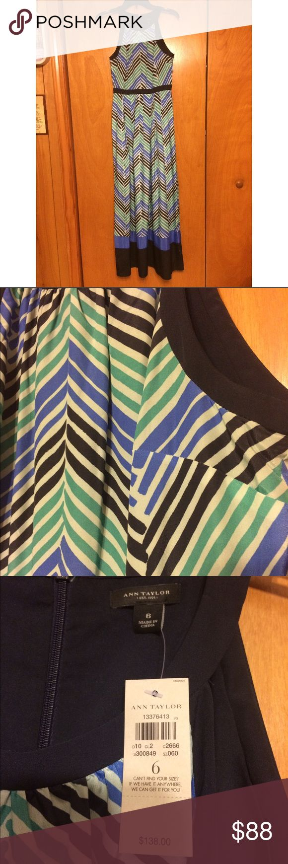 NWT Ann Taylor maxi dress-size 6! Chevron print! New with tags Ann Taylor maxi dress-size 6! Blue, teal/green and black chevron print. Full length dress! No flaws! Originally $138! SEND REASONABLE OFFERS :) Ann Taylor Dresses Maxi