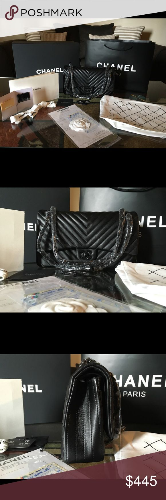 """Black Chevron So Black double Flap bag BRAND NEW. Chevron So Black Jumbo Lambskin with Black Hardware. Comes with magnetic box, paper bag, camellia flower, dust bag, ribbon, pamphlet care, cards, receipts.  💯 1:1 Top quality.    """" Lowest price thru ♏️ercari , Local Meetups or 🅿️aypal""""          Email me for more pictures at jadeg6822@gmail. com Bags Shoulder Bags"""