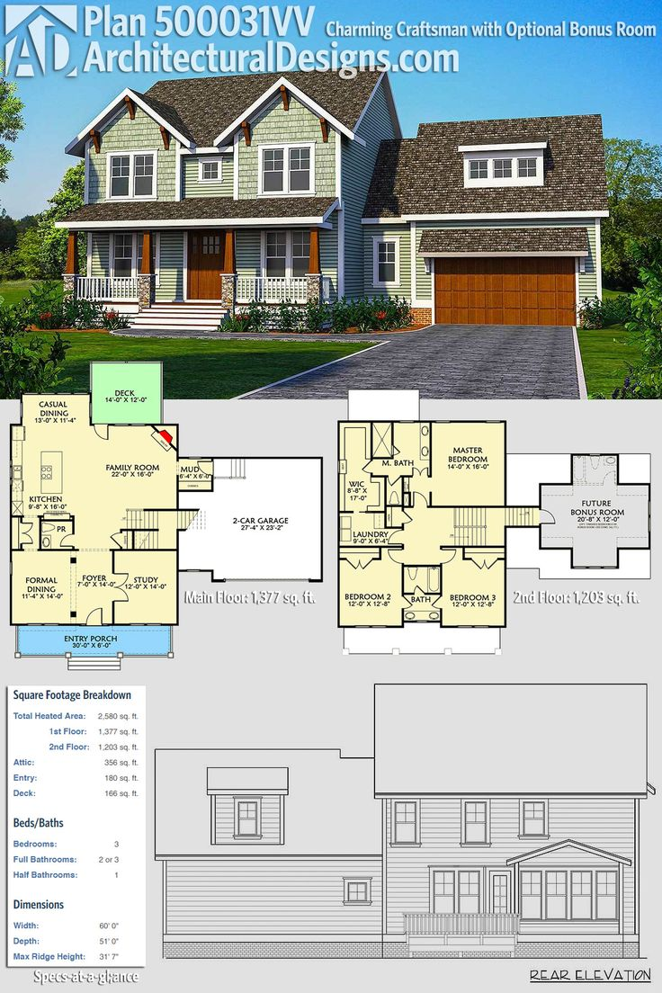 Architectural Designs Exclusive House Plan 500031VV gives you 3 beds, 2.5 baths and over 2,500 square feet PLUS bonus space (with a full bath) over the garage. Ready when you are. Where do YOU want to build? #500031VV #adhouseplans #architecturaldesigns #houseplan #architecture #newhome #newconstruction #newhouse #homedesign #dreamhome #dreamhouse #homeplan #architecture #architect #craftsmanhouse #craftsmanplan #craftsmanhome