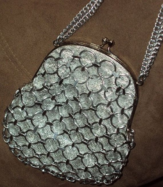 Vintage Magid Silver Tone Circles Purse Satin Lined Silver Lame Fabric Made in Japan    is this dazzling vintage silver circles and looped purse