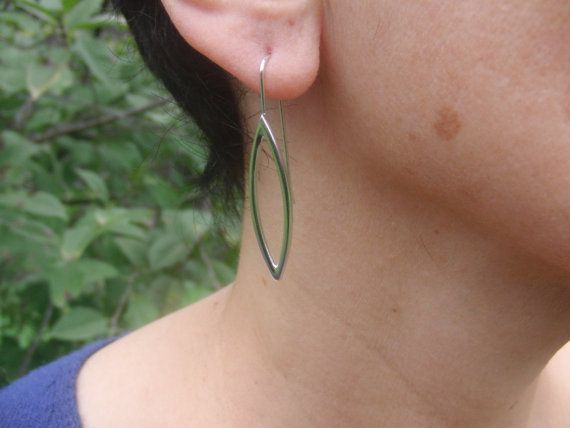 Silver Earrings Sterling Silver Modern Earrings by AMjewelryStudio
