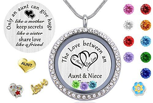 My Aunt Gifts from Niece Magnetic Closure Living Memory Floating Charms Locket 30mm Round Crystals Pendant Necklace with Birthstone
