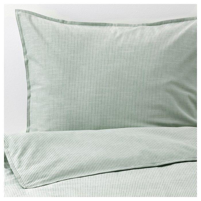 Bergpalm Duvet Cover And Pillowcase S Green Stripe Full Queen