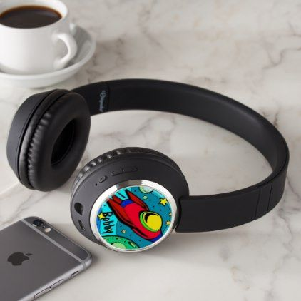 Aliens Spaceship add YOUR Boys NAME 2 images Headphones - image gifts your image here cyo personalize