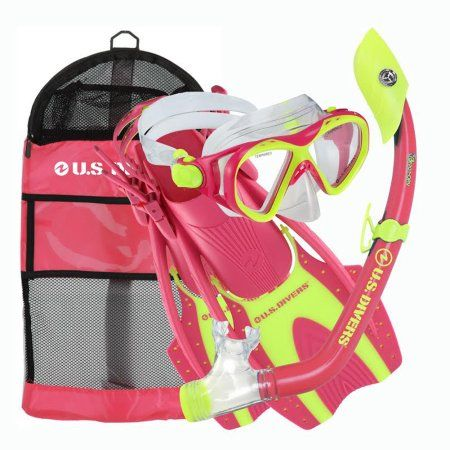 Buzz Island Dry Hingeflex Snorkel Set - Kids, Green
