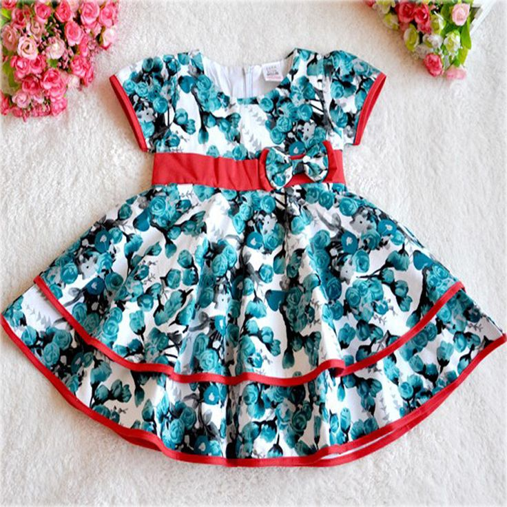 Summer Kids Girl Party dresses 2017 fashion flower pattern girl kids party dress summer brand kids party dress for girls clothes