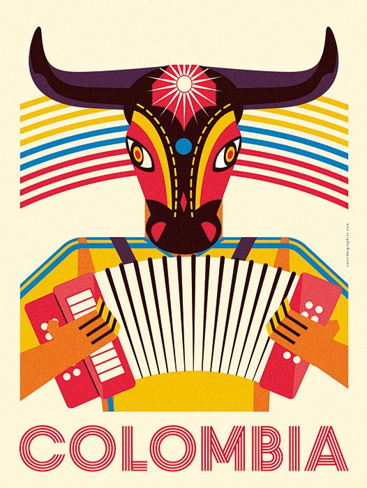 Colombia Poster Barranquilla travel print by ConsiderGraphics. Mucho más sobre nuestra hermosa Colombia en www.solerplanet.com #DreamHolidayContest
