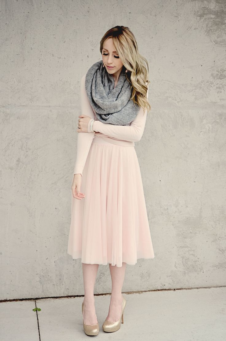 Soft pink dress and gray scarf
