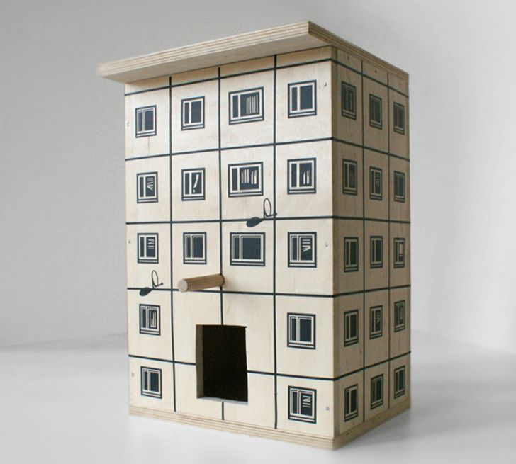 Nesting Block Birdhouses for Trendy Tree Sparrows
