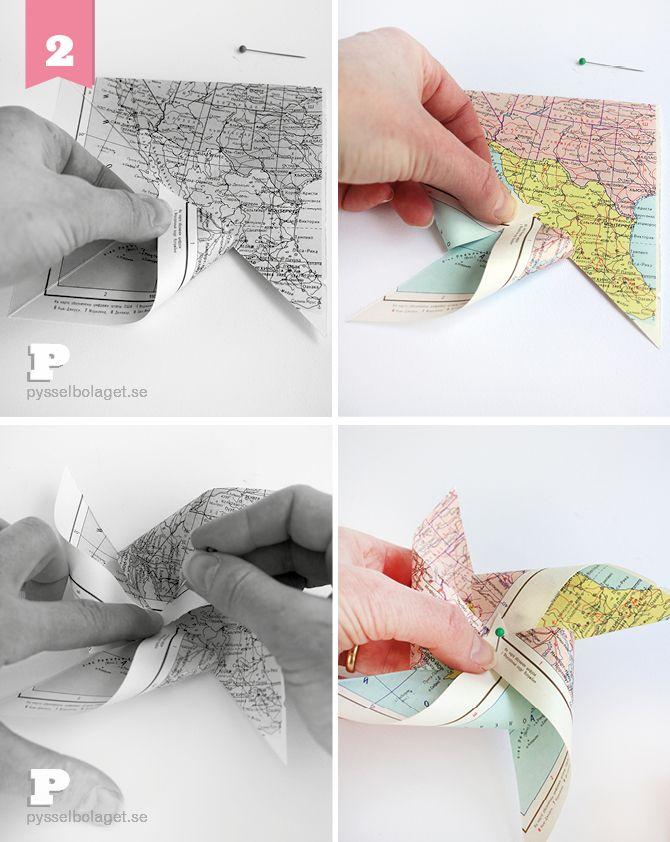 DIY Map Pinwheel Tutorial
