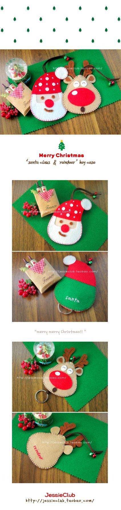 不织布DIY材料包---*圣诞老人;驯鹿 钥匙套* 圣诞节 新年礼品-淘宝网