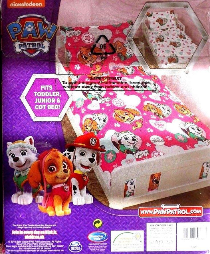 Nickelodeon paw patrol toddler duvet set junior cot bed set pillow case and duve
