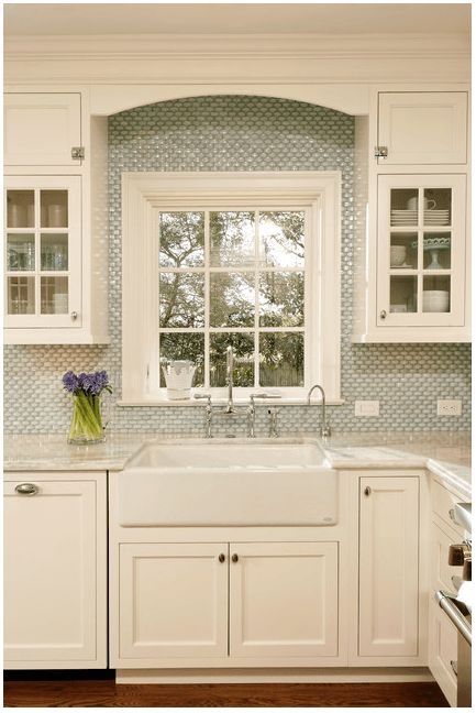 White Milk Glass Subway Tile Backsplash