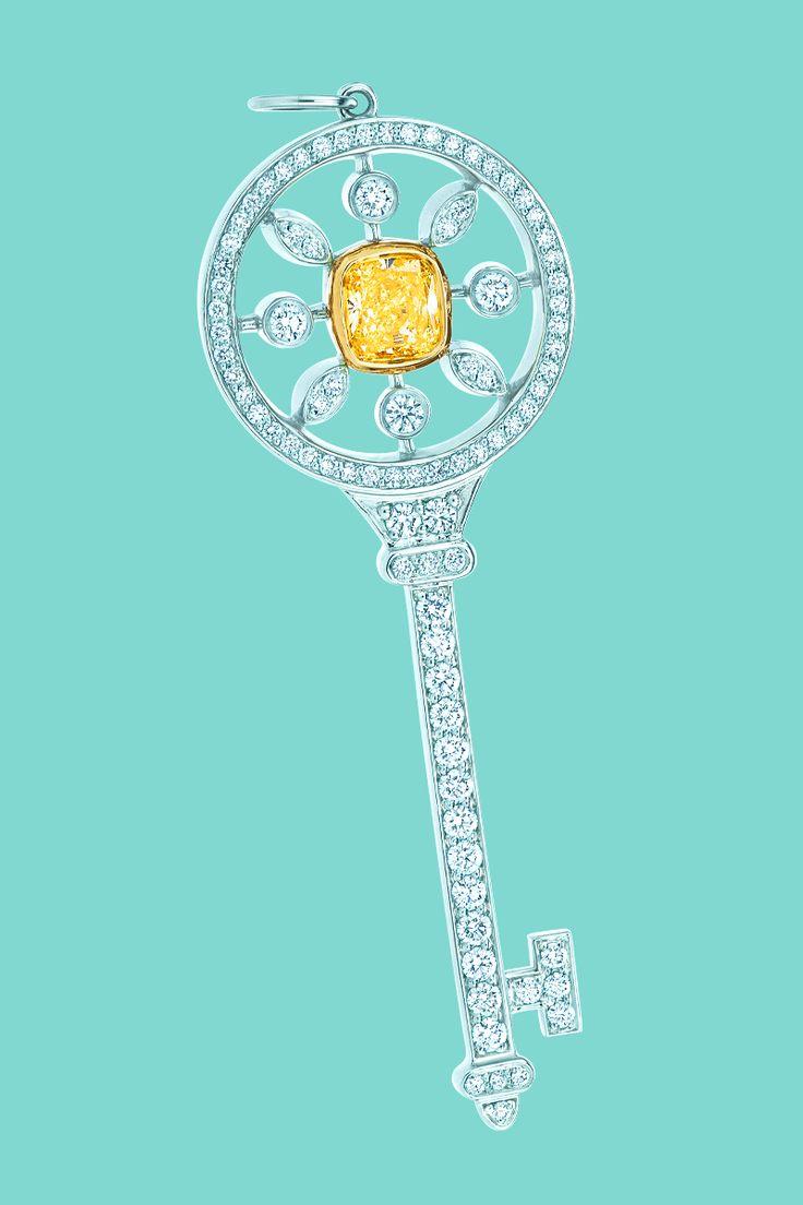 Tiffany Keys round kaleidoscope key pendant in platinum with white and yellow diamonds. #TiffanyPinterest