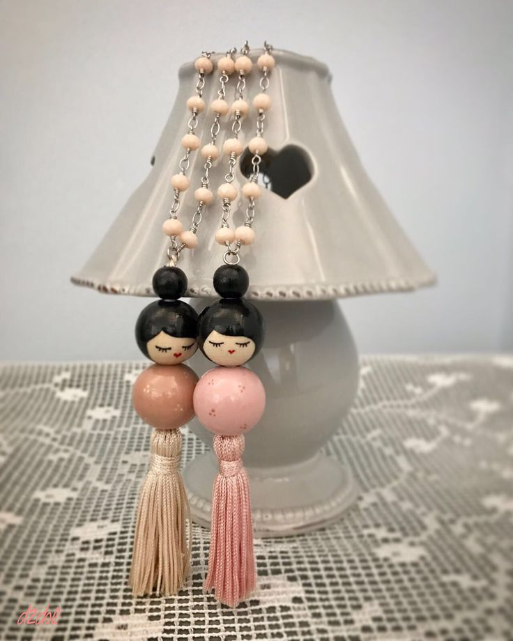 Handpainted wooden bead doll ~ necklace with tassel