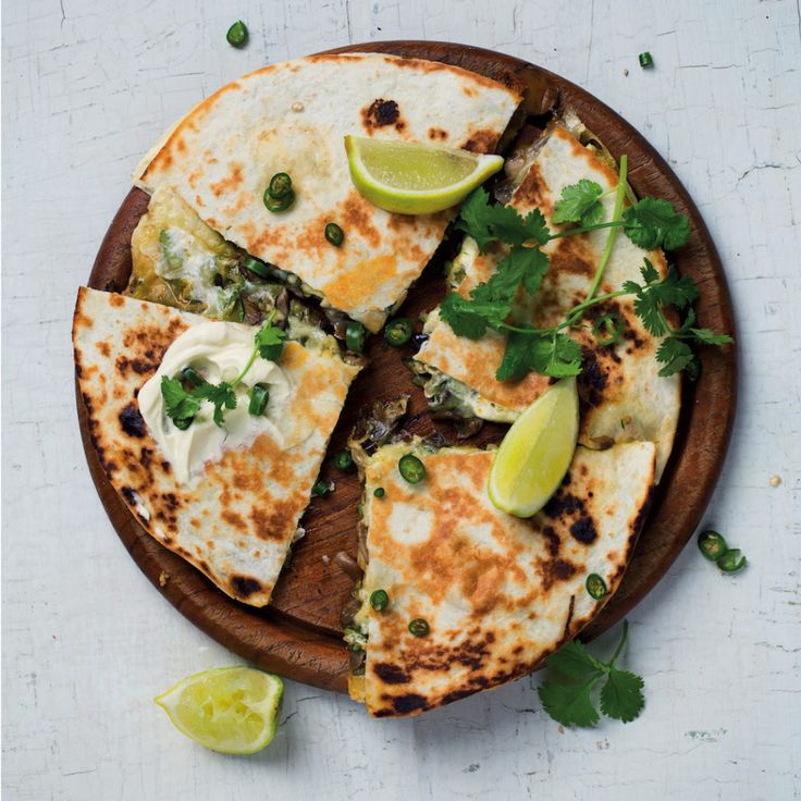 Mushroom and baby marrow quesadillas