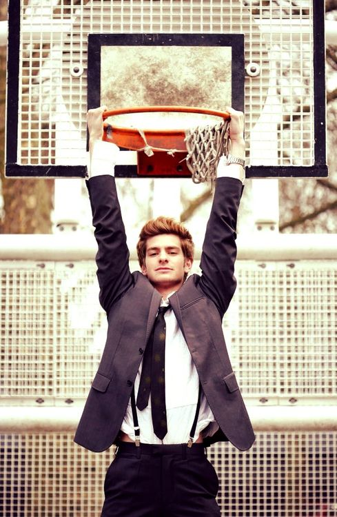 Andrew Garfield. ok. I'm done. I found a picture of andrew garfield and a basketball hoop.