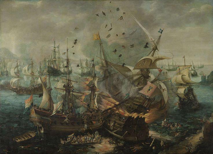 The Explosion of the Spanish Flagship during the Battle of Gibraltar, Cornelis Claesz. van Wieringen, c. 1621