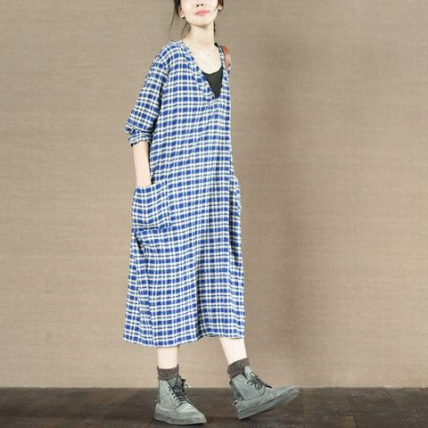 Blue Square Maxi Size V-neck Dress Two Pocket Plus Size Oversize Causel Women Clothes