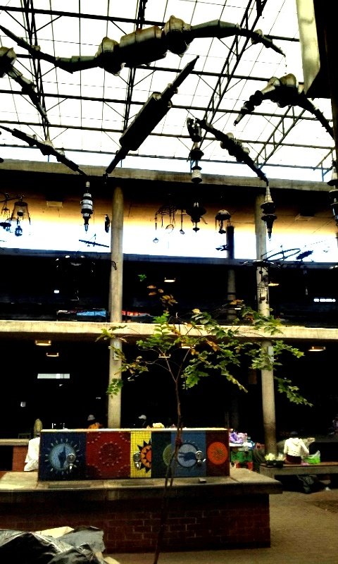 Exhaust pipes and kitchen utensil decor  @ Bara Taxi Rank, 19.03.2012