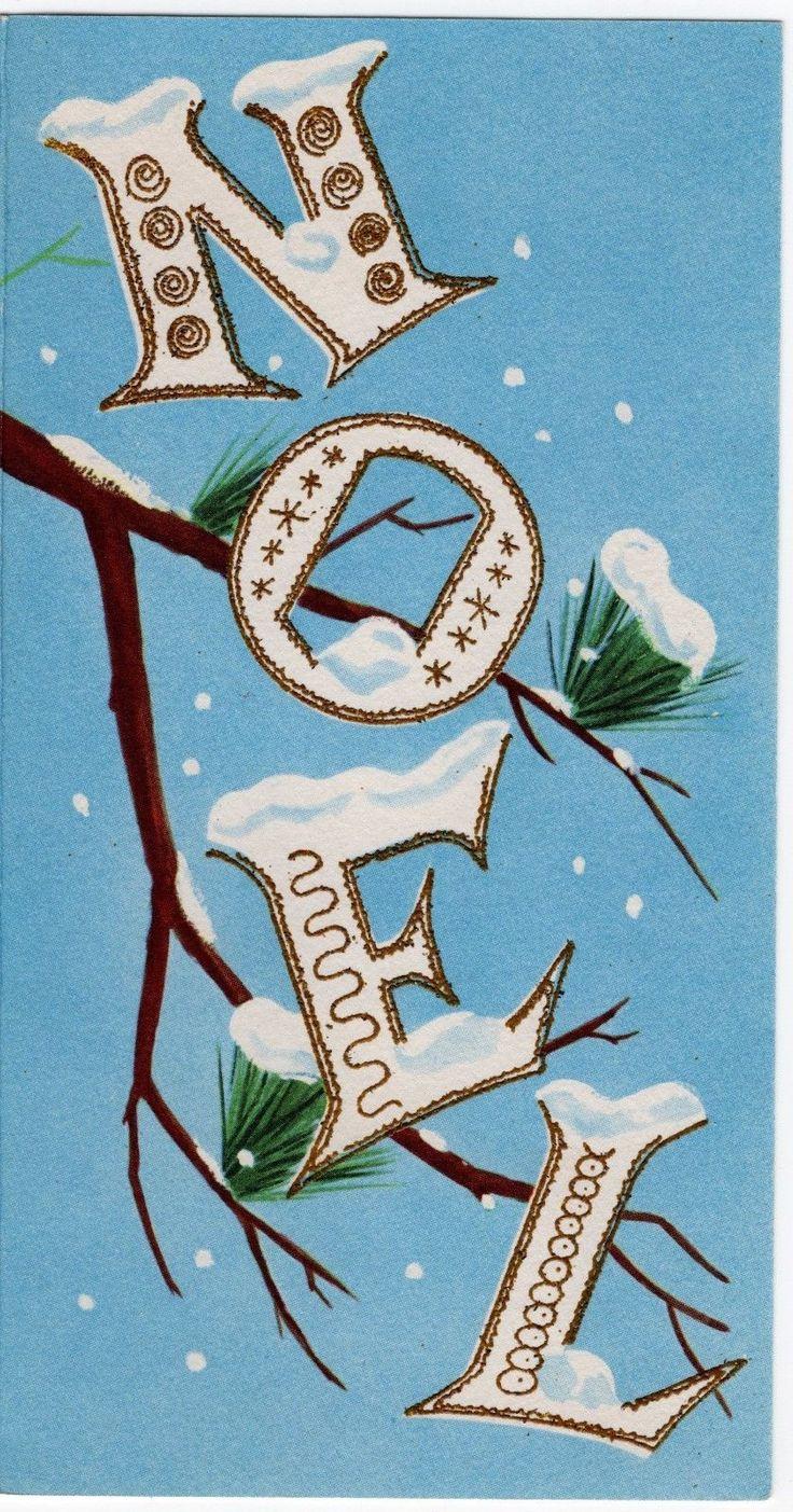 MCM Noel Letters Pine Branch Blue Gold Embellished VTG Christmas Greeting Card – art