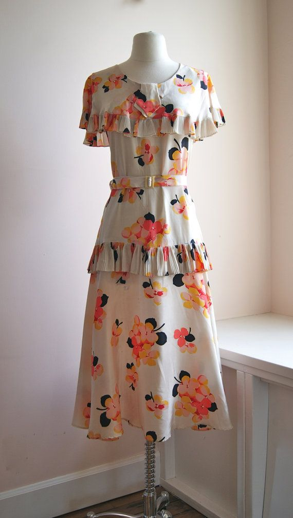 30s Dress // Vintage 1930s Silk Floral Print by xtabayvintage, $298.00