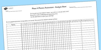 Twinkl Resources >> Phase 4 Phonics Letters and Sounds Analysis Sheet  >> Classroom printables for Pre-School, Kindergarten, Primary School and beyond! phase 4, letters and sounds, DFE, phonics assessment, letters and sounds assessment, assessment, assessment sheet,