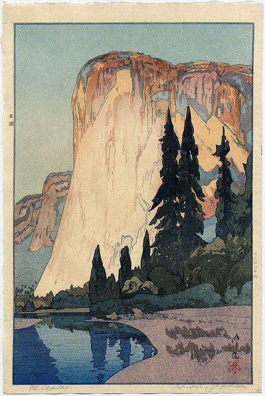 Woodblock print of American landmark El Capitan in Yosemite National Park, Japan, 1925, by Yoshida Hiroshi.