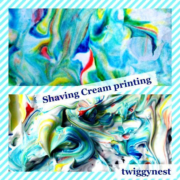 Shaving cream printing - rainbow clouds