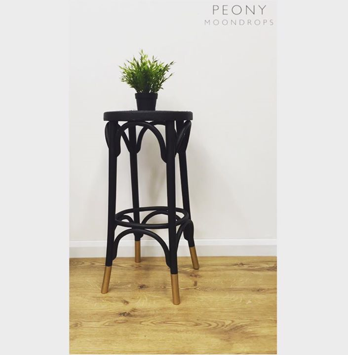 Black bentwood stool with gold metallic socks with Everlong Stardust