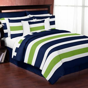 Navy Blue and Lime Green Stripe 3pc Teen Full / Queen Bedding Set Collection only $99.99