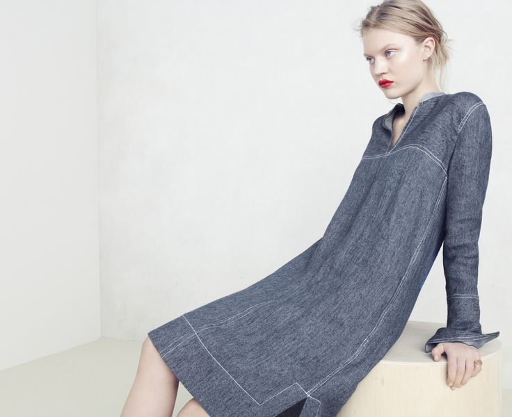 J.Crew Collection Japanese chambray shift dress.