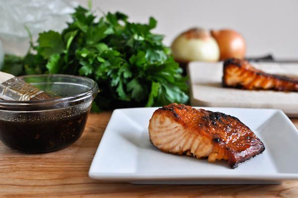 Dinner tonight. Crispy Bourbon Glazed Salmon I howsweeteats.com