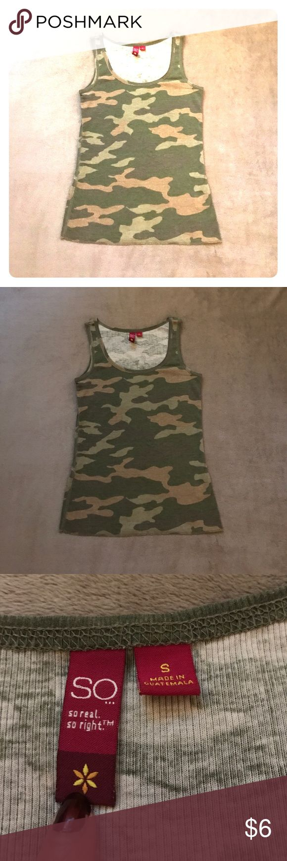 "Camo Tank Top Ribbed camo tank top in good used condition.  Measures approximately 14"" from armpit to armpit lying flat.  Has stretch to it.  Price is firm unless bundled. Tops Tank Tops"