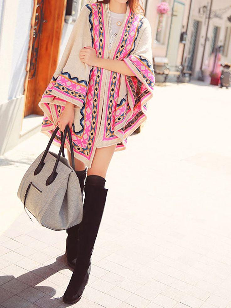 Geometric Pattern And Eye Pattern Knit Poncho Coat