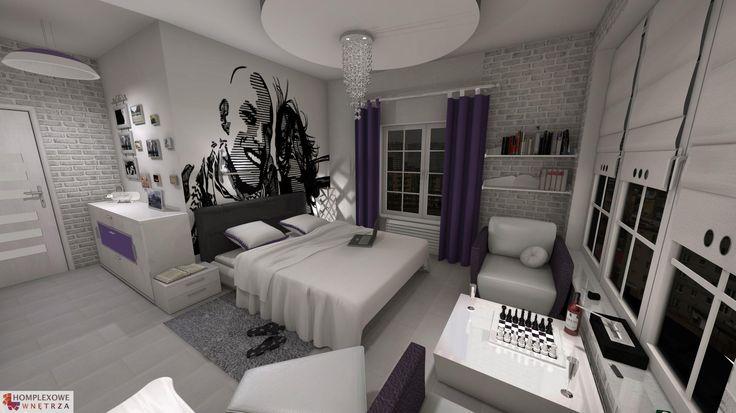 Aranżacja sypialni wystrój nowoczesny w kolorach biały, fioletowy, szary - projekt wnętrza o id 6636755 w Homplex.pl, Zestaw wyposażenia za 28510 zł ($8909)