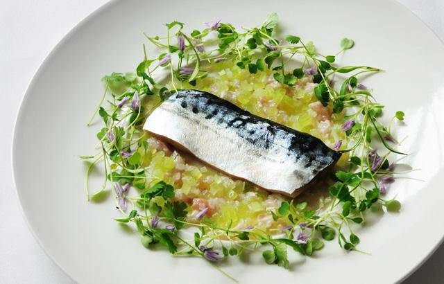 Mackerel confit, cucumber tartare and lemon sherbet dressing. Would be good with pommes souffle?